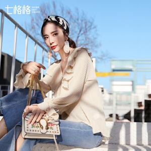 七格格荷叶边雪纺衫春装新款女长袖韩版时尚秋冬百搭仙气质上衣小衫