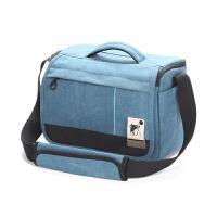 摄影包单肩for佳能760D80D6D5D3单反相机包6D2尼康D750帆布户外 蓝色
