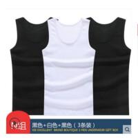 谢嘉儿三件装男士背心 纯棉运动健身无袖背心夏季韩版马甲潮宽松打底汗衫黑色+黑色+白色