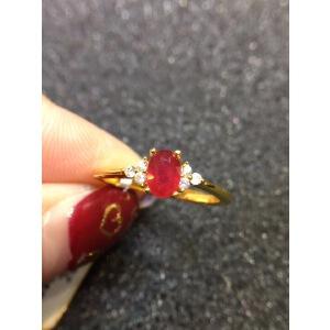红宝石戒指,*红宝石,晶体超干净的,火彩爆闪,925银度黄金