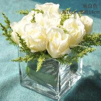 仿真花假花绢花玫瑰套装样板房摆件客厅餐桌玻璃花艺摆设软装饰品 米白色款(破损包赔)