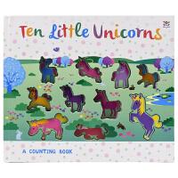 【首页抢券300-100】Ten little Unicorns 幼儿数字启蒙认知洞洞书 十只独角兽 立体触摸英语故事绘