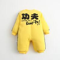 女婴儿连体衣服秋冬季0岁6个月男宝宝冬装3新生儿棉衣加厚睡