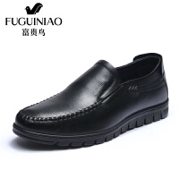 富贵鸟男鞋2018春新款男士皮鞋男真皮商务休闲鞋舒适一脚蹬爸爸鞋