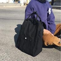 韩版秋冬百搭学院风学生书包纯色手提大容量帆布包旅行背包