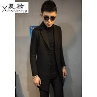 夏妆男装外套中长款韩版呢子大衣男秋季男士风衣青年时尚英伦修身上衣
