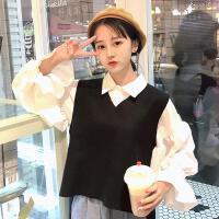 配短裙的上衣bf套装女原宿风两件套chic运动韩版ulzzang马甲衬衣