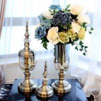 家居客厅装饰品玻璃花瓶花器摆件真花美式欧式花瓶样板房间摆设 软装经典配5