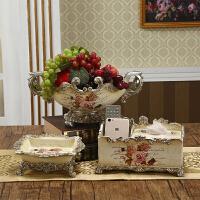 欧式茶几树脂摆件 多功能纸巾盒水果盘烟灰缸家居装饰品摆件套装