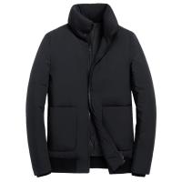 冬季男装新款90%白鸭绒加厚时尚男士羽绒服立领短款外套夹克 黑色