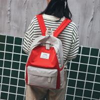 双肩包女韩版百搭校园学院风学生书包时尚撞色ulzzang 帆布背包潮