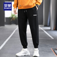 罗蒙百搭休闲裤男2021春季新款运动裤青年潮流宽松束脚裤纯色卫裤
