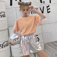 韩版时尚休闲套装夏装女装短袖网纱+T恤打底衫+阔腿裤短裤三件套