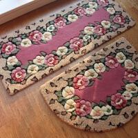 晴纶剪花花朵防滑脚垫厨房吸水地垫玄关入户地垫床边毯2件套 50*80半圆+45*120cm