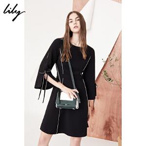 【每满200减100】Lily2018秋新款女装黑白撞色线条收腰喇叭袖连衣裙118110C7636