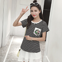 女装欧美风条纹刺绣t恤女短袖夏季韩版修身显瘦百搭