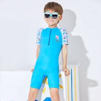 小猪佩奇儿童连体泳衣中大童长短袖沙滩防晒男孩女孩宝宝可爱泳衣