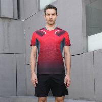 羽毛球服套装男女款 透气速干网球服情侣韩版羽毛球衣服 YY1025红色 男款