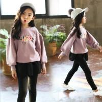 女童卫衣套装春装2018韩版儿童冬季潮衣加绒加厚裙裤中大童套