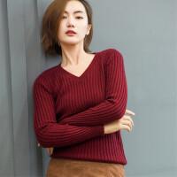 秋冬新款羊绒衫女V领抽条针织衫套头修身短款打底衫百搭纯色毛衣