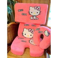 记忆棉慢回弹U形枕卡通机器猫颈椎枕办公室腰靠枕头坐垫 可拆洗 粉红色 猫咪一套