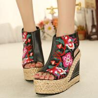 实拍新款夏季民族风复古绣花鞋真皮高跟凉鞋坡跟女鞋子
