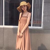 春夏女装韩版中长款木耳边压褶吊带裙无袖抹胸连衣裙打底长裙显瘦