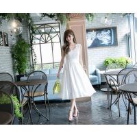 新款夏季中长款连衣裙仙女气质修身显瘦百搭白色蕾丝雪纺绣花