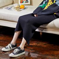 [1件2.5折价59元]唐狮秋新款半身裙女针织裙高腰长裙开叉一步包臀裙中长款字
