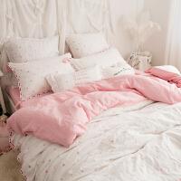 家纺双层纱婴儿级面料裸睡床上用品全棉四件套纯棉爱心公主流苏刺绣 夏日甜心