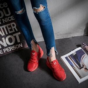 Mr.zuo2017秋季新款中学生大红色黑色潮鞋子浅口内增高百搭女鞋运动跑鞋