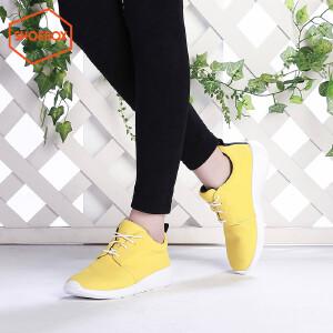 达芙妮旗下SHOEBOX/鞋柜春秋季休闲系带女单鞋平底深口中跟鞋