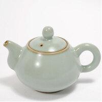 陶瓷故事 汝窑茶具茶壶 天青釉开片水平壶 月白