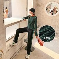 七格格打底针织衫女长袖2019新款冬季韩版拼色套头半高领修身上衣