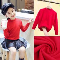 女童毛衣套头秋冬装新款加绒儿童高领打底针织衫上衣