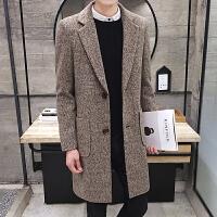秋冬季风衣男韩版20新款修身呢子大衣男士帅气学生中长款外套潮 F103