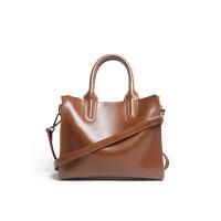 X冬女包中牛皮大容量手提包购物袋托特包包单肩斜跨 棕色