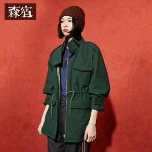 【尾品价240】森宿P口袋世界冬装新款复古中长款纯色高领直筒毛呢外套女