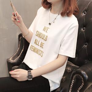 AGECNETRE 2018夏季韩版学生百个性半袖圆领t恤女韩范宽松大码短袖上衣
