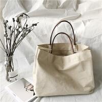 港味复古chic风休闲单肩包文艺简约手提布包购物袋大包大容量女包