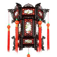 塑料宫灯仿红木色仿古灯笼茶楼酒店中式灯笼结婚庆典春节大红灯笼