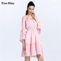 Five Plus女装雪纺连衣裙高腰短裙子荷叶边喇叭袖流苏气质