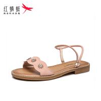 【�t蜻蜓1件2折,�I��M100再�p20】�t蜻蜓女鞋2020夏季新款中年正品�底坡跟防滑平底�鲂�女