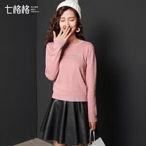 七格格针织衫女韩版学生百搭冬装新款猫咪字母刺绣圆领修身短款长袖上衣