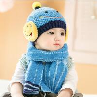 缕巷 笑脸新款韩版秋冬款批发宝宝帽子儿童毛线帽 儿童帽子围巾两件套
