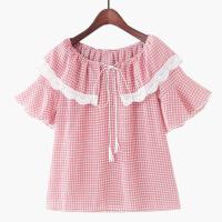 2018夏季新款小清新蕾丝花边荷叶喇叭袖娃娃领系带格子雪纺衬衫女