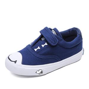 史努比童鞋男童女童帆布鞋儿童运动鞋布鞋白色板鞋
