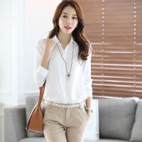 杰美春季新品韩版女士白色雪纺衫 通勤职业装打底修身长袖衬衫