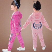 女童运动套装春秋装中大童天鹅绒休闲儿童外套两件套