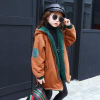 女童冬装2017新款女童韩版中长款两面穿风衣女孩卡通外套